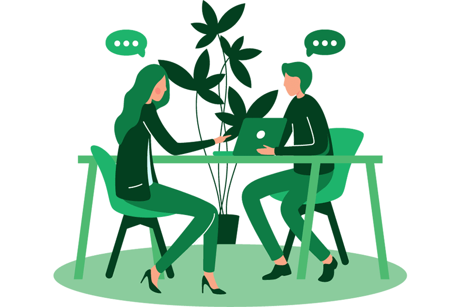professional sharing ideas during a b2b content marketing consultation