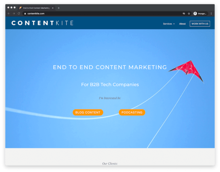 home page of b2b marketing agency content kite