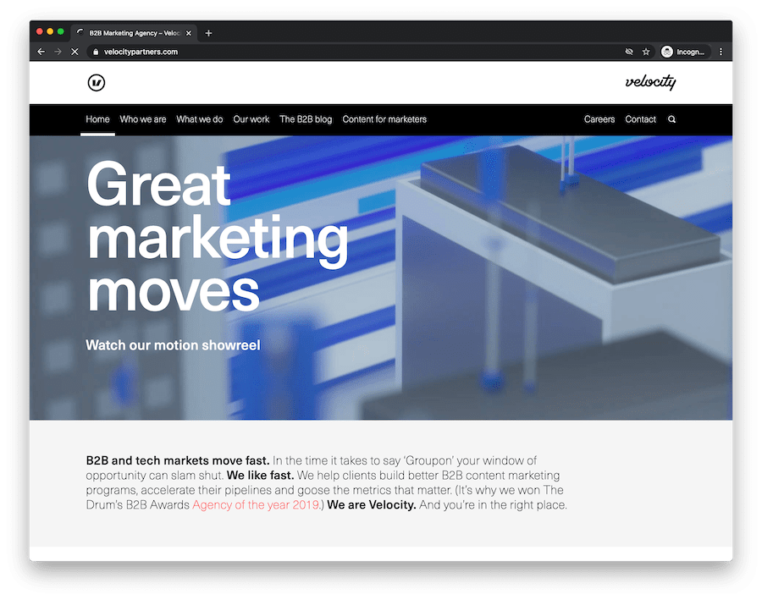 home page of b2b marketing agency velocity partners