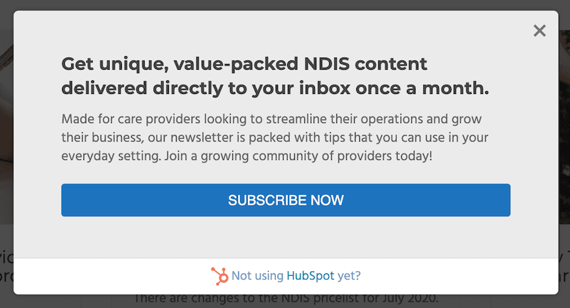 newsletter subscription pop-up box for ndis content