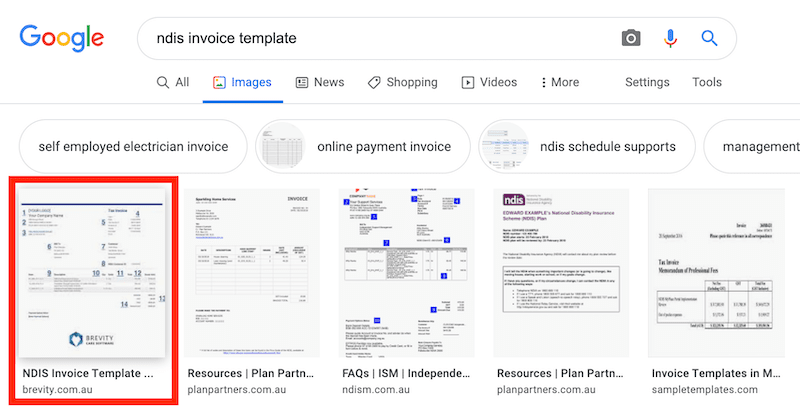 results on google images for ndis invoice template