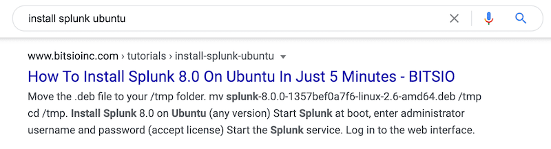 install splunk on ubuntu serp result