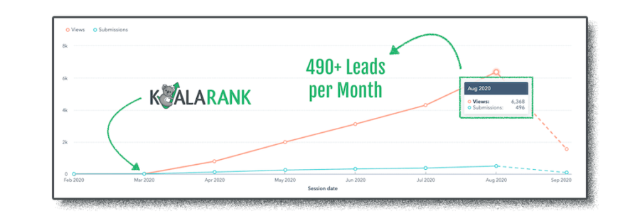 koala rank generating leads for a client