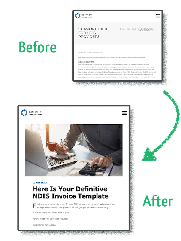 before after image for better readability on blog user experience