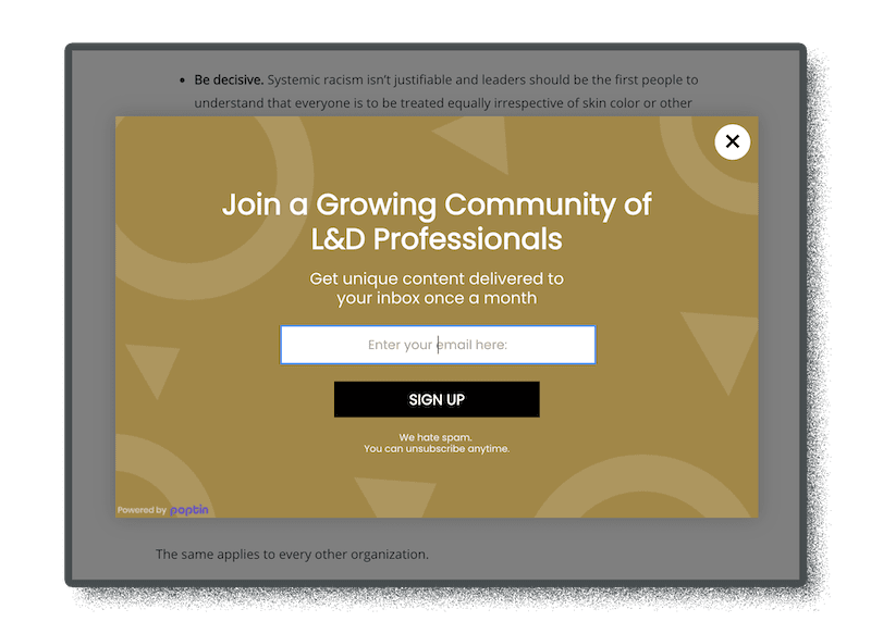 pop-up form for lead generation and better ux