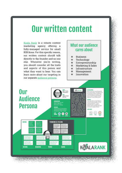 the content style guide or writing guidelines connected to your brand positioning