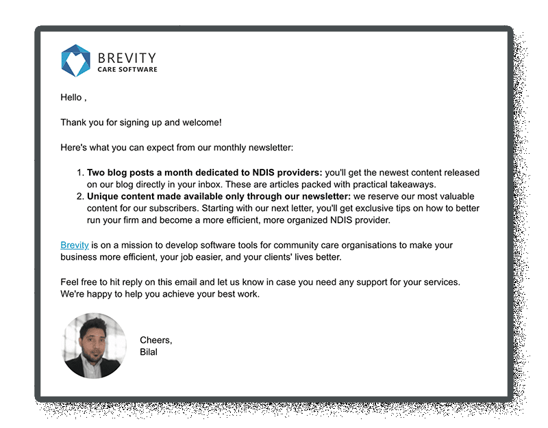 example of followup email from a landing page