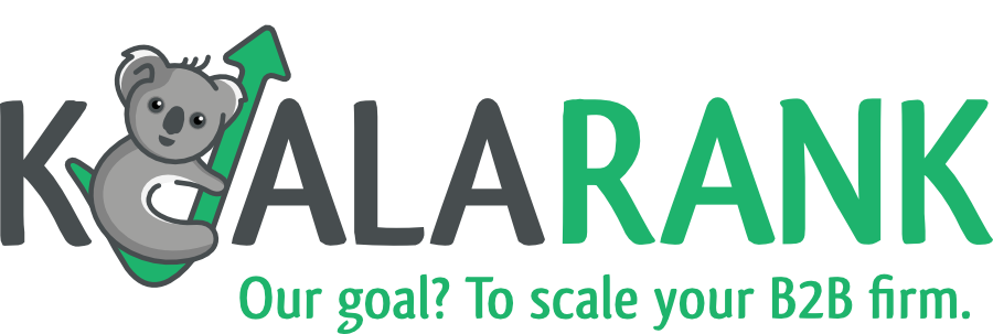 koala rank retina logo with scale tagline