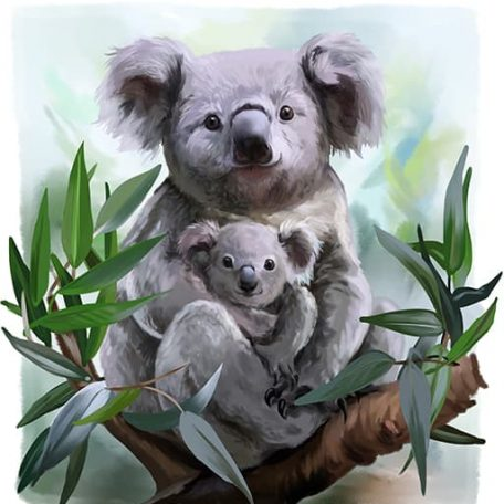 koala mother hugging koala baby
