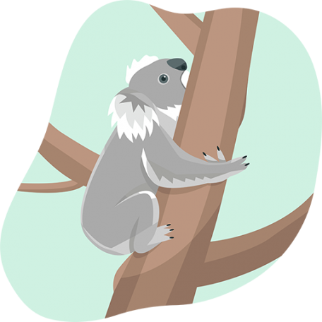 monthly done-for-you blog content represented by a koala climbing a tree